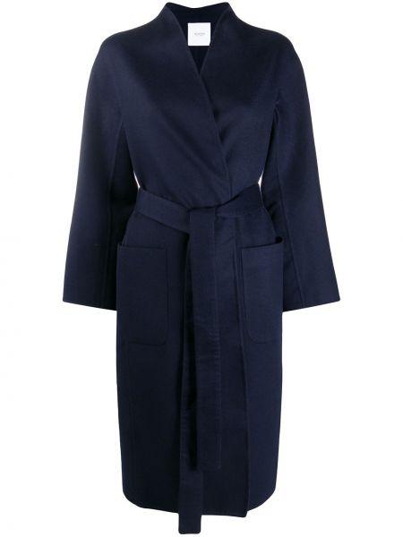 Кашемировое прямое синее пальто с поясом Agnona
