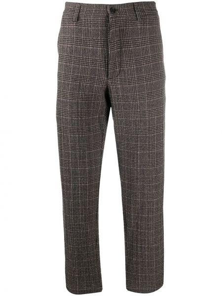 Spodni wełniany brązowy przycięte spodnie z paskiem Ymc