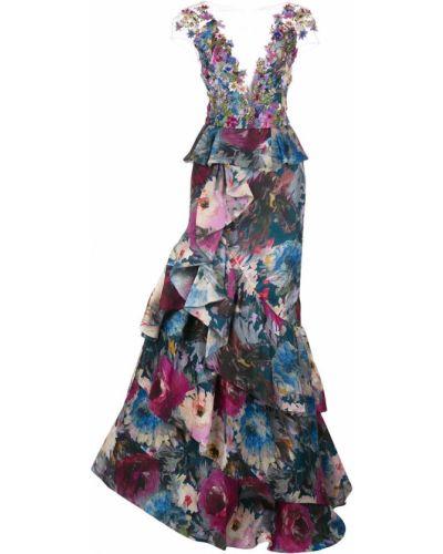 С рукавами шелковое синее вечернее платье Marchesa