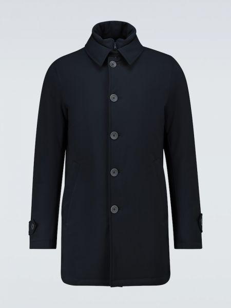 Puchaty pikowana niebieski jednorzędowy płaszcz Herno