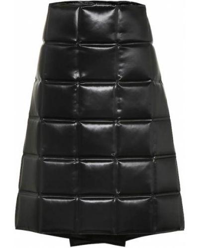 Satynowa czarna spódnica kopertowa Bottega Veneta