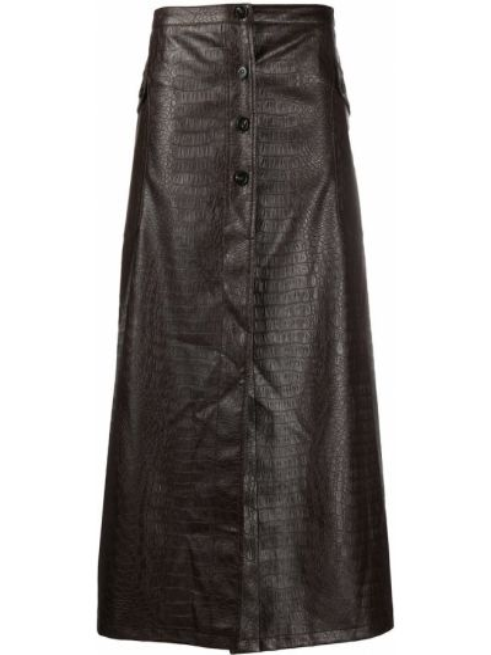 Коричневая прямая с завышенной талией юбка из крокодила Soulland
