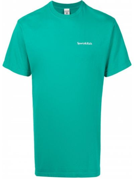 Зеленая хлопковая прямая футболка с надписью Sporty And Rich