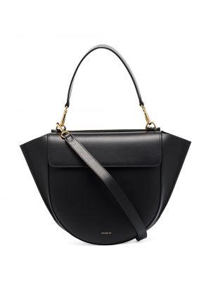 Кожаная черная сумка-тоут на молнии с карманами Wandler
