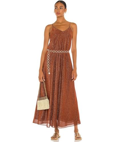 Шелковое платье макси - коричневое Oseree