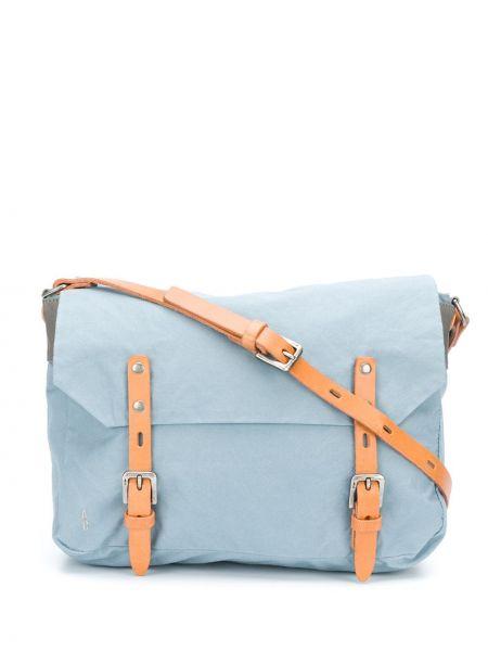 Кожаная синяя сумка мессенджер с пряжкой на молнии Ally Capellino
