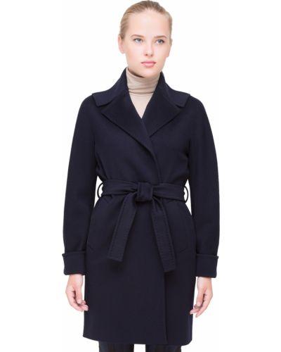 Синее шерстяное пальто с капюшоном Heresis
