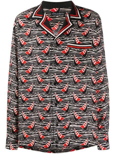 Koszula z długim rękawem jedwab z kieszeniami Dolce And Gabbana