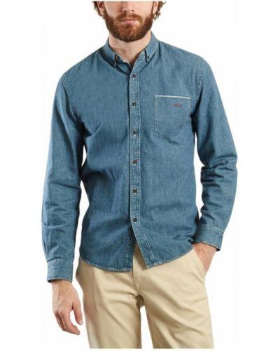 Niebieska koszula jeansowa z haftem na co dzień Maison Labiche
