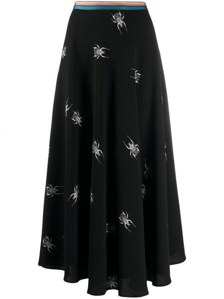 Шелковая черная прямая юбка Paul Smith