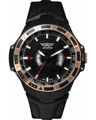 Часы водонепроницаемые кварцевые с кожаным ремешком Aviator
