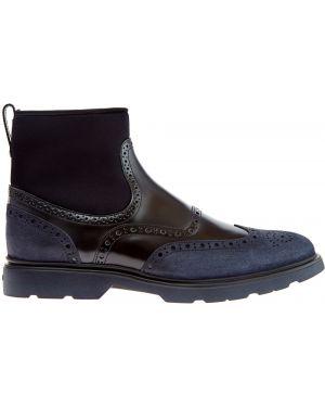 Кожаные ботинки броги высокие Hogan