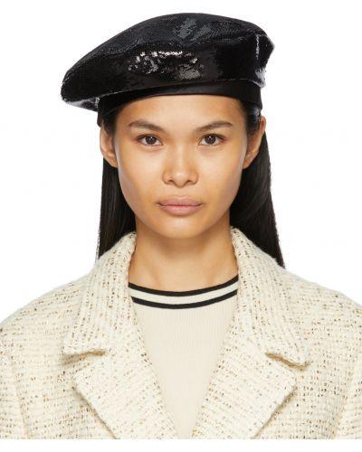 Czarny beret z jedwabiu Gucci
