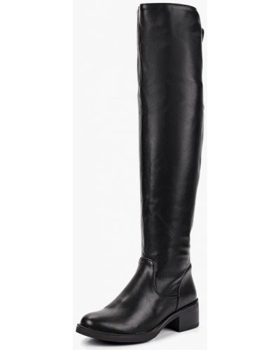 Ботфорты на каблуке кожаные черные Max Shoes