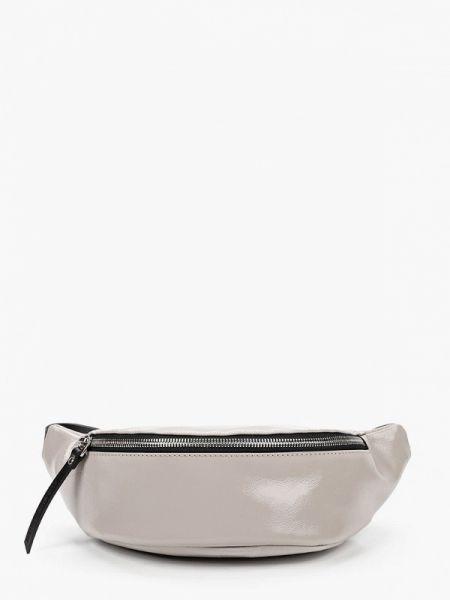 Кожаная лаковая бежевая поясная сумка Asya Malbershtein