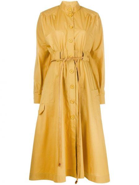 Прямое желтое платье миди с поясом Fendi