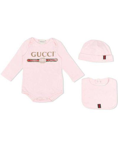 С рукавами хлопковое розовое боди с длинными рукавами с вырезом Gucci Kids