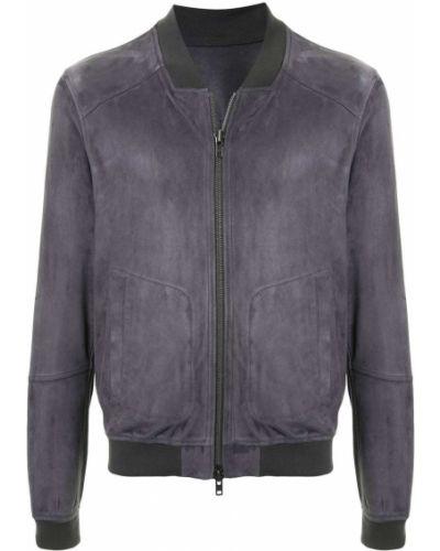 Кожаная серая куртка на молнии в рубчик S.w.o.r.d 6.6.44