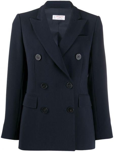 Синий удлиненный пиджак двубортный с карманами Alberto Biani