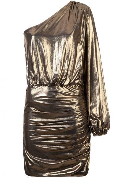 Желтое шелковое платье миди на молнии с подкладкой Michelle Mason