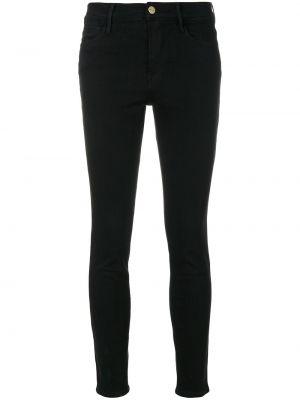 Хлопковые с завышенной талией черные джинсы-скинни Frame