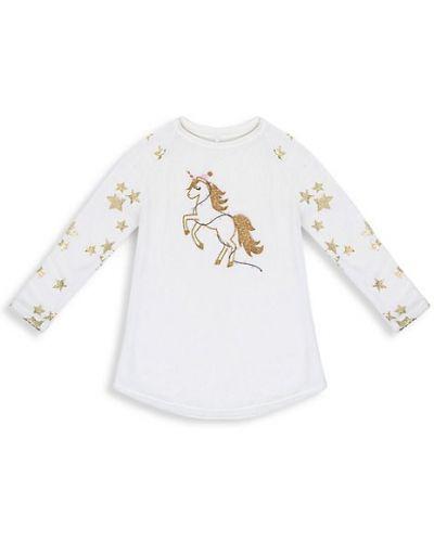 Biała koszula nocna z raglanowymi rękawami Petit Lem