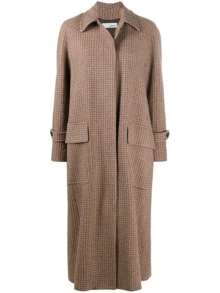 Коричневое шерстяное пальто классическое с воротником на пуговицах Lardini