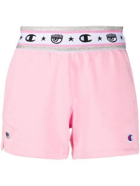 Хлопковые розовые шорты с заплатками с карманами Chiara Ferragni