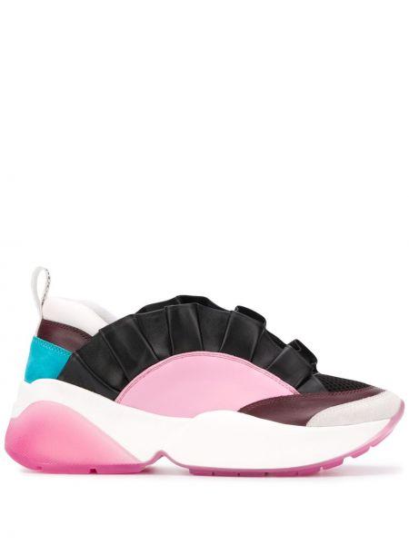 Skórzane sneakersy czarne z nadrukiem Emilio Pucci