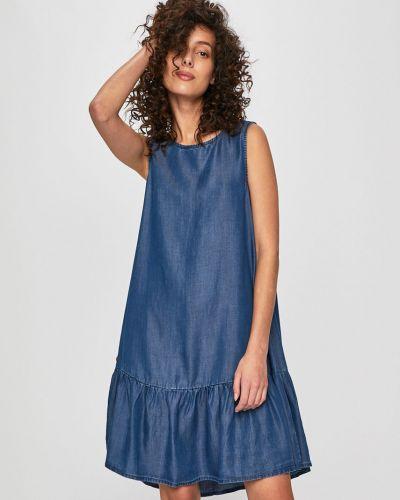 Темно-синее расклешенное джинсовое платье с кисточками Answear