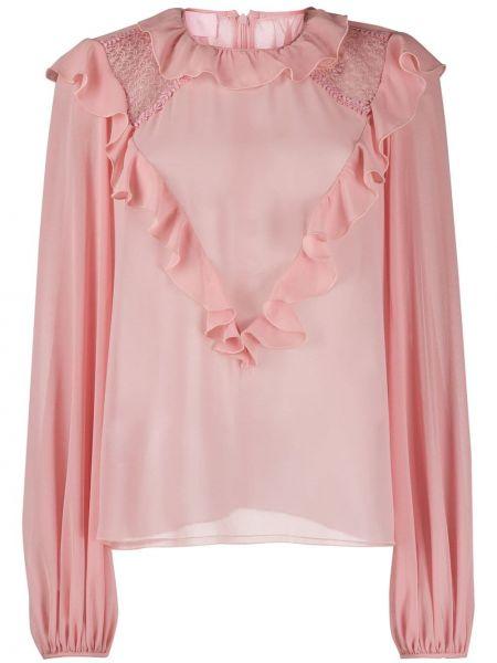 Różowa bluzka z długimi rękawami z falbanami Giamba
