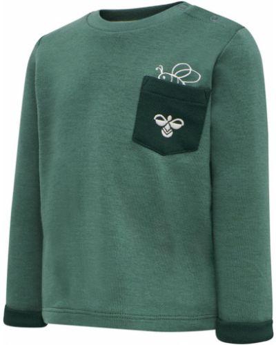 Zielona bluza długa oversize z długimi rękawami Hummel