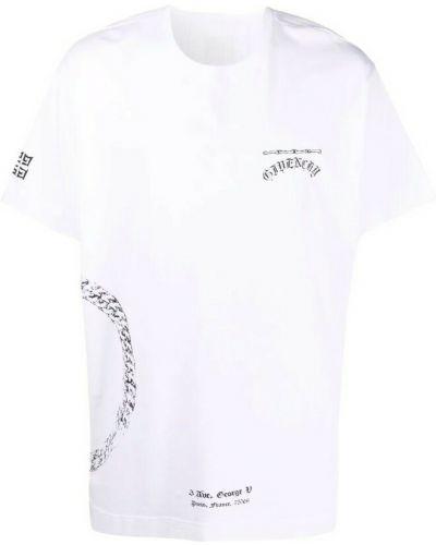 T-shirt z printem - biała Givenchy