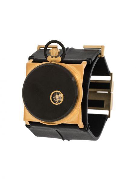 Czarny złoty zegarek mechaniczny Fob Paris