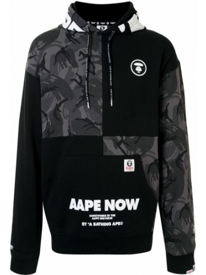 Z rękawami czarny bluza z kieszeniami z łatami Aape By A Bathing Ape