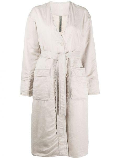Белое длинное пальто с капюшоном на пуговицах Raquel Allegra