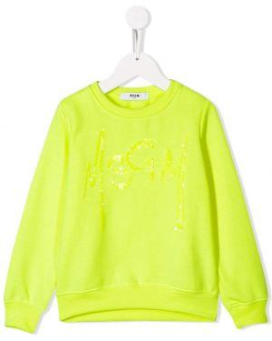 Желтый топ с пайетками Msgm Kids