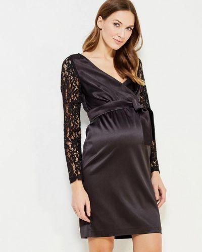 Коктейльное платье осеннее черное Mammysize