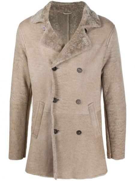 Beżowy płaszcz skórzany z długimi rękawami Giorgio Brato