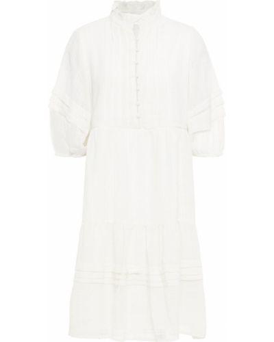 Плиссированное белое платье мини с подкладкой Walter Baker