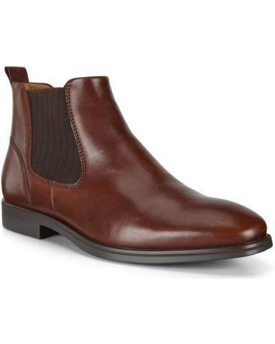 Коричневые кожаные ботинки челси эластичные Ecco