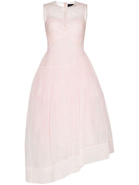 Расклешенное розовое платье с вышивкой из органзы Simone Rocha