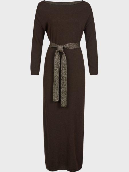 Коричневое шерстяное платье с поясом Kontatto