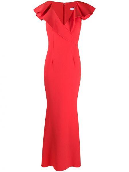 Красное платье на молнии с оборками с вырезом Safiyaa