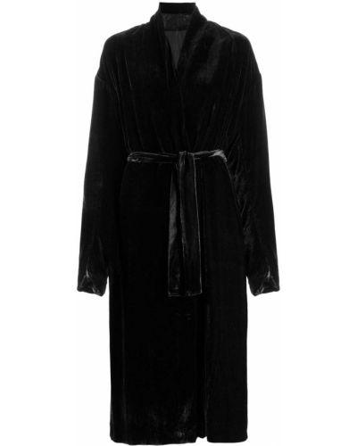 Черное длинное пальто с капюшоном с воротником Masnada