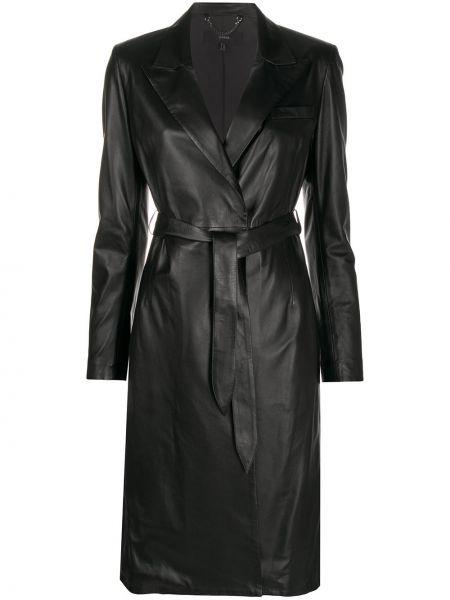 С рукавами черное приталенное кожаное платье Arma
