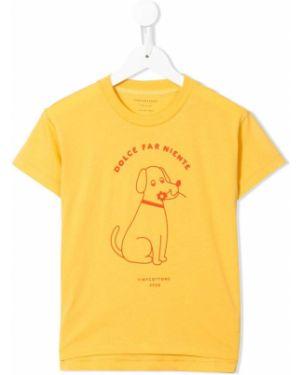 Хлопковая желтая футболка с короткими рукавами с круглым вырезом Tiny Cottons