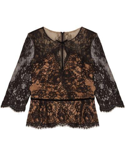Блузка с длинным рукавом кружевная с баской Marchesa