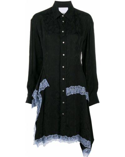 С рукавами кружевное черное платье макси Koché