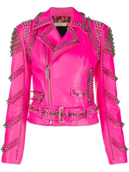 Розовая куртка байкерская на молнии с шипами Philipp Plein